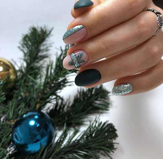 Матовые ногти на новый год