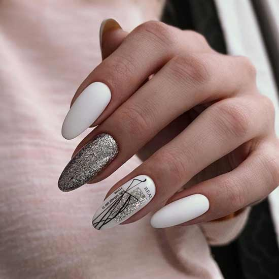 Белый зимний дизайн ногтей