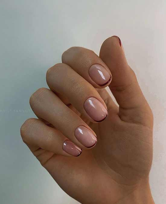 Тонкий френч на короткие ногти