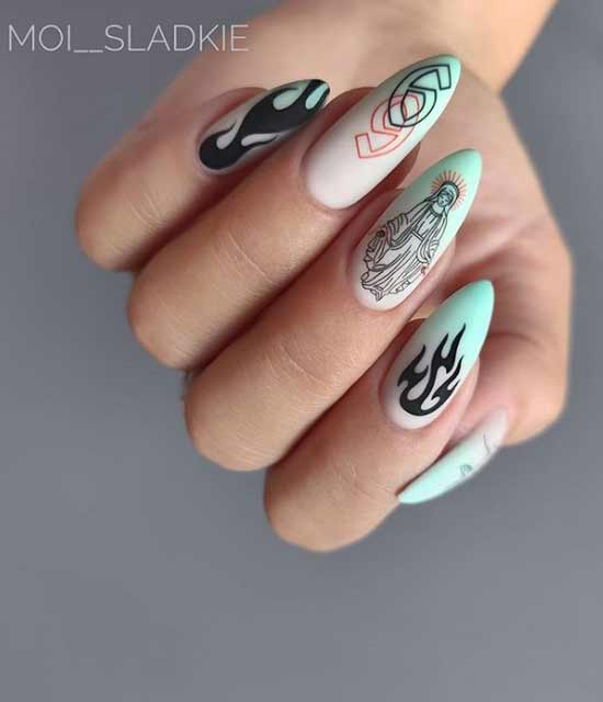 Оригинальный орнамент на длинных ногтях