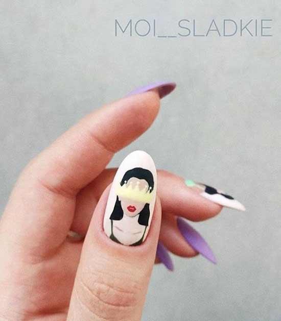 Оригинальный дизайн ногтей с лицом девушки
