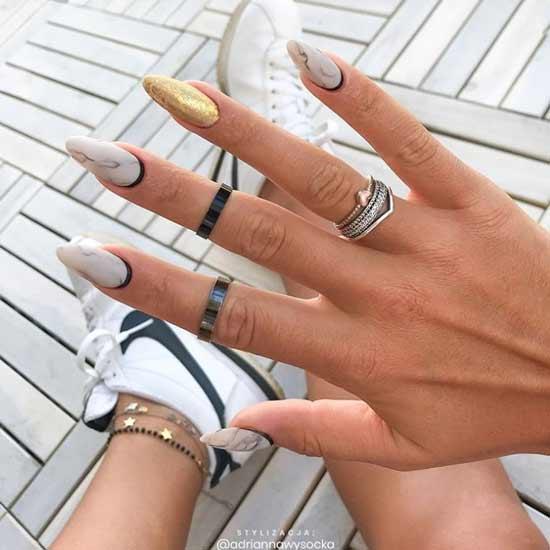 Оригинальный мраморный дизайн ногтей