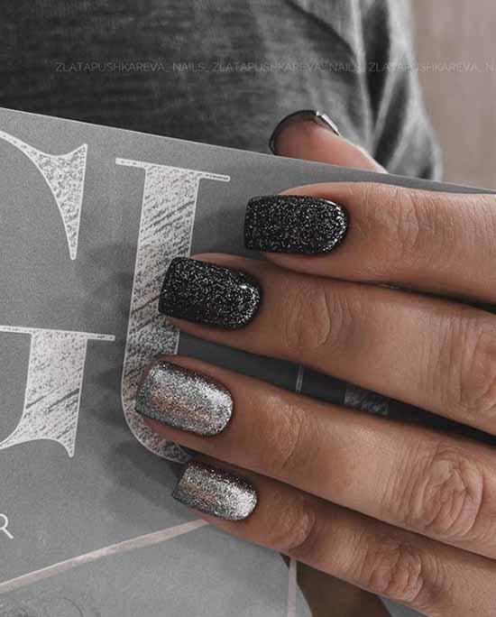 Черный маникюр с серебристыми блестками