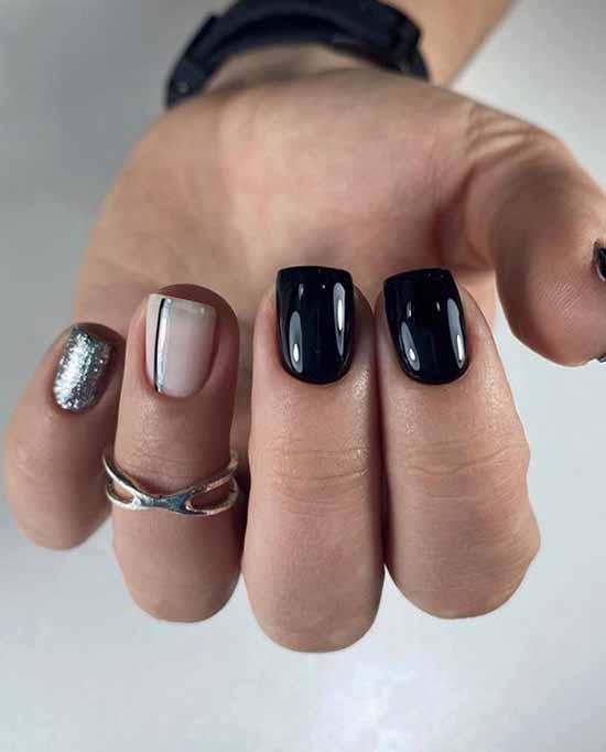 Квадратная форма ногтей черный маникюр с блестками