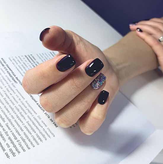 Черный маникюр с блестками: фото с лучшим дизайном