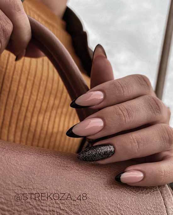 Черный френч и блестки на одном ногте