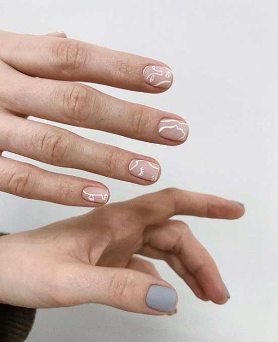 Красивый дизайн коротких ногтей