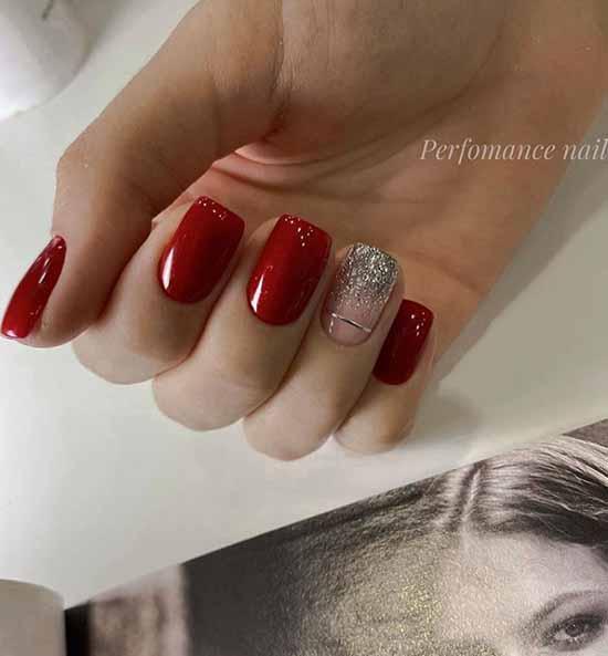 Красные короткие ногти с блестками
