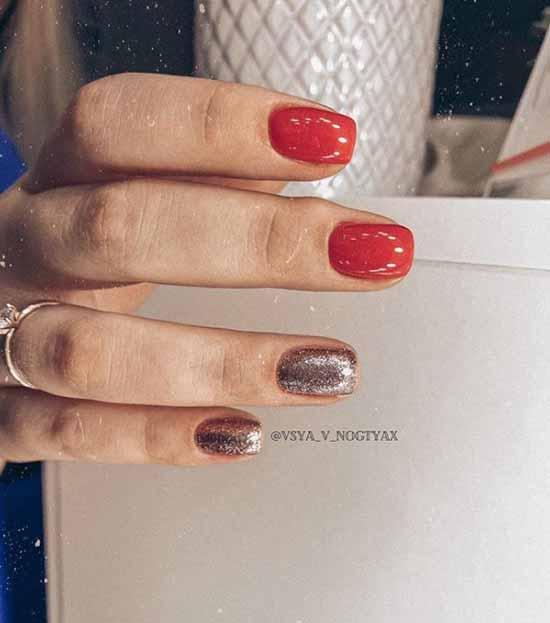 Красный и два ногтя блестками
