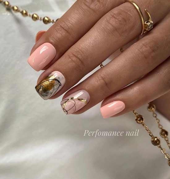 Нюдовые ногти с поталь