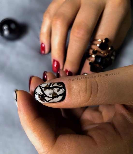 Черные ногти с поталь