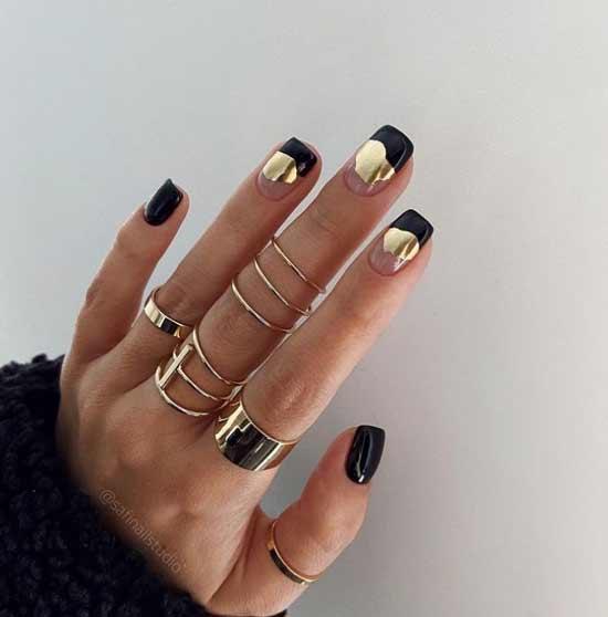 Черный золотой поталь и прозрачные ногти