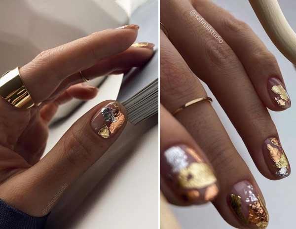 Золотая и серебряная поталь на ногтях
