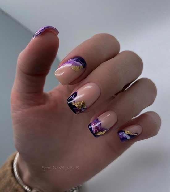 Прозрачные ногти с поталью