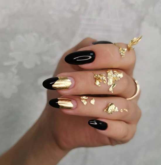 Литье фольгой поталь на ногтях