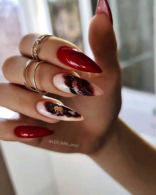 Бордовые ногти с поталь