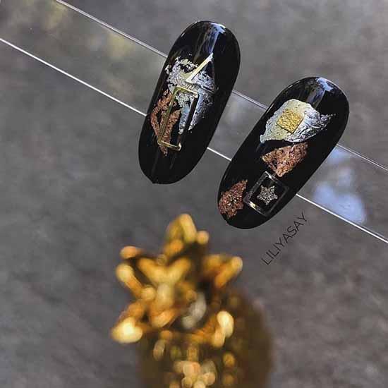 Примеры дизайна ногтей с поталь