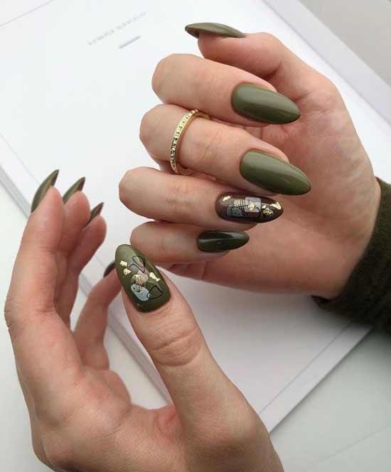 Дизайн с фольгой на одном ногте