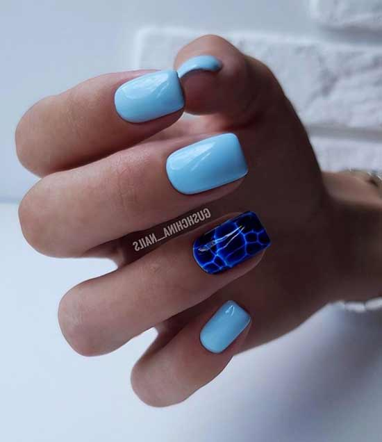 Короткие ногти дизайн на одном ногте