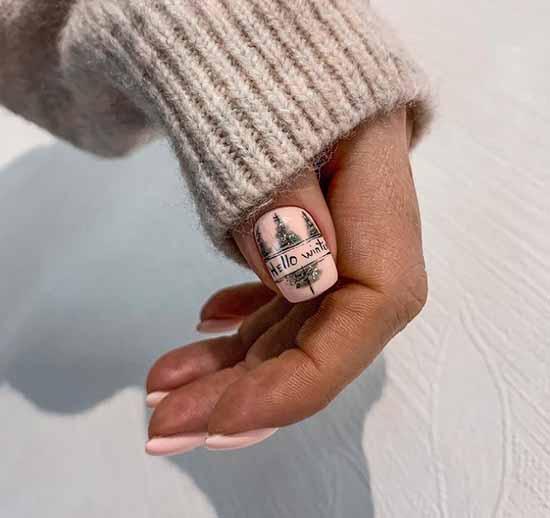 Зимний пейзаж на ногтях