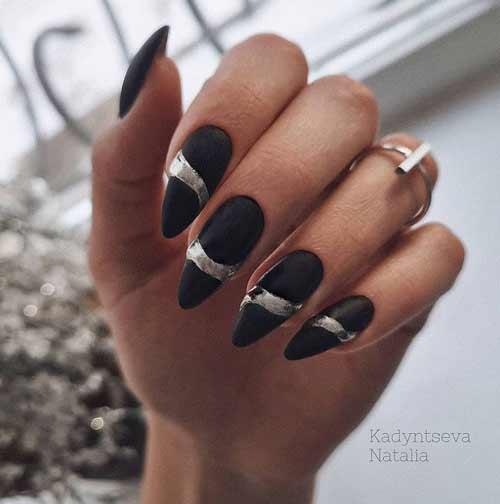 Черные ногти дизайн фольгой
