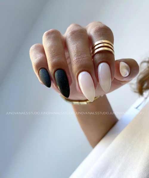 Черные миндалевидные ногти дизайн