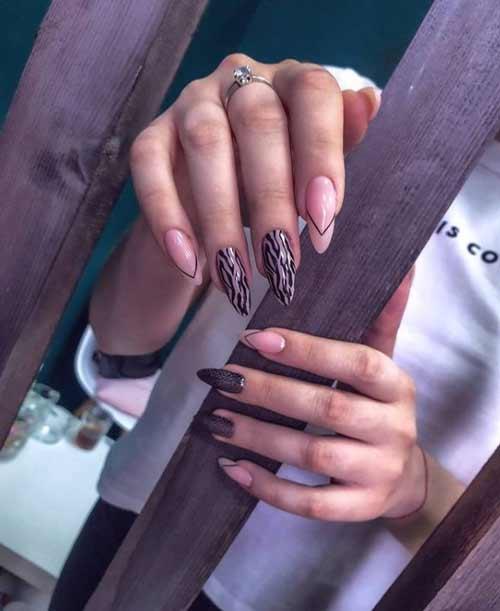 Длинные ногти черный маникюр