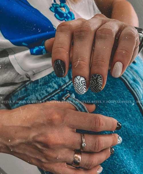 Черные короткие ногти дизайн