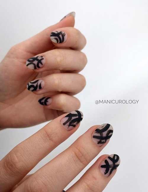 Черный дизайн короткие ногти