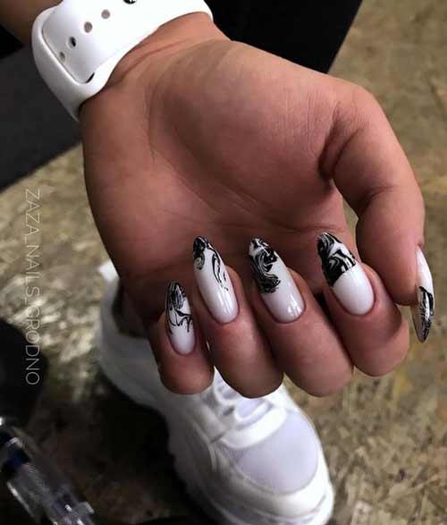 Черные дизайн длинные ногти