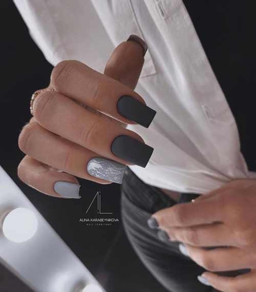Матовый черно-серый маникюр