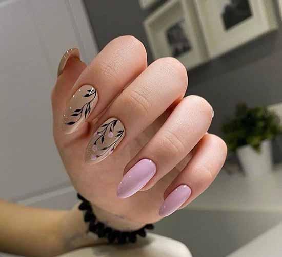 Бежево-розовый элегантный маникюр