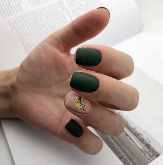 Хаки дизайн ногтей в стиле минимализм