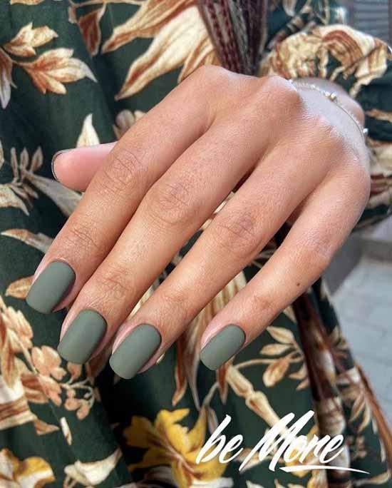 Хаки матовый дизайн ногтей