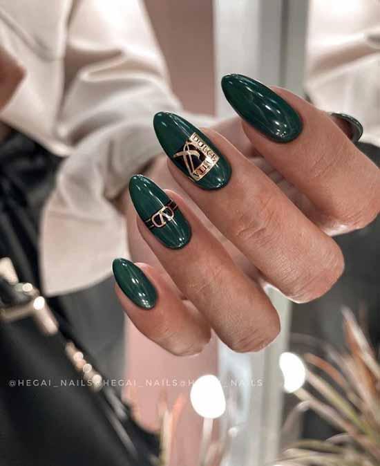 Длинные ногти цвет темный изумруд