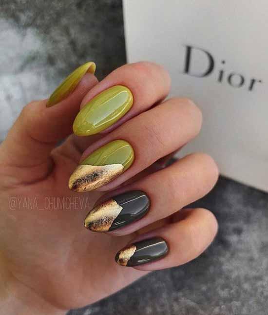 Хаки с фольгой дизайн ногтей