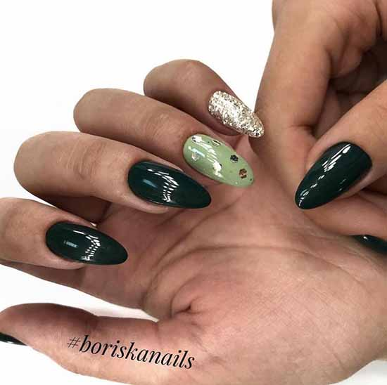 Темно-зеленый с блестками