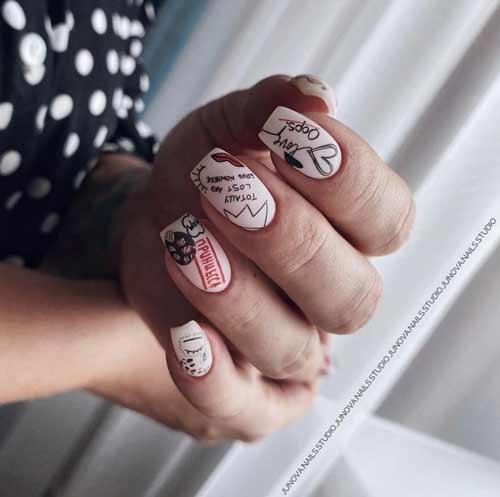 Матовый дизайн ногтей с сердечком