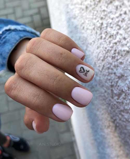 Ногти сердечко в стиле минимализм