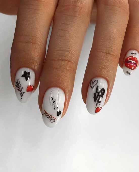 Белые ногти с сердечком