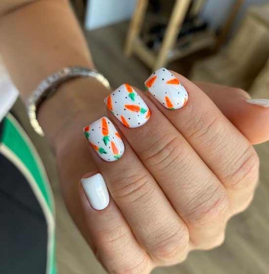 Оранжевые морковки на ногтях