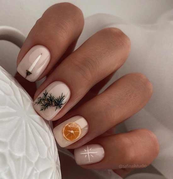 Рисунок оранжевого апельсина на ногтях
