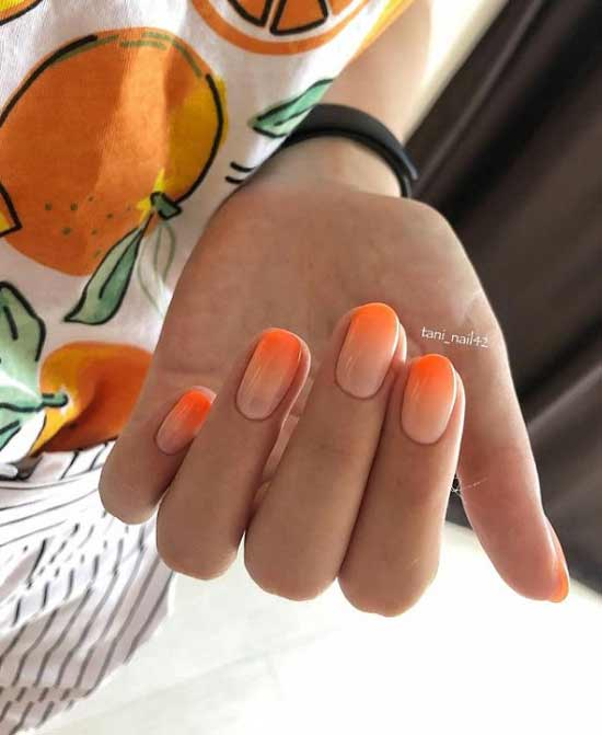 Оранж-градиент дизайн ногтей