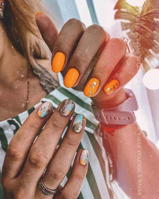 Оранжевые короткие ногти
