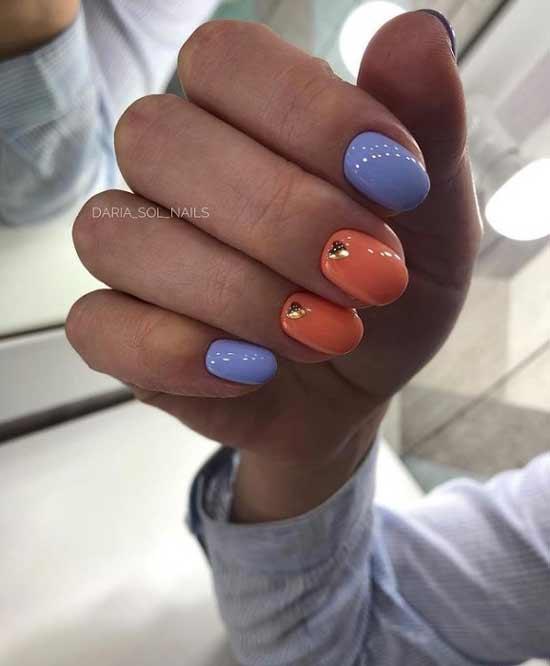 Двухцветный оранжевы маникюр короткие ногти