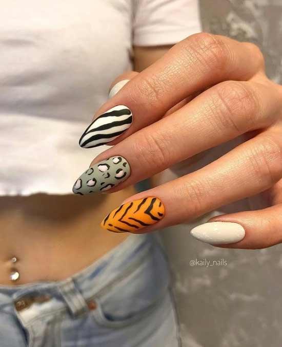 Оранжевые длинные ногти дизайн