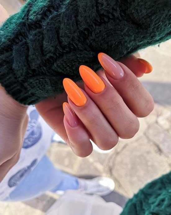 Оранжевые длинные ногти