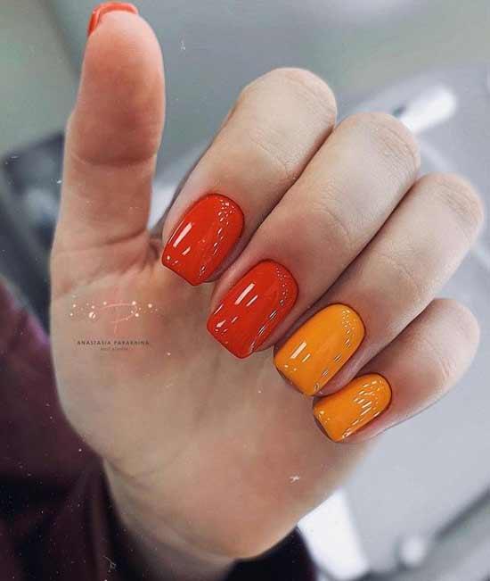 Оранжевые идеи для маникюра