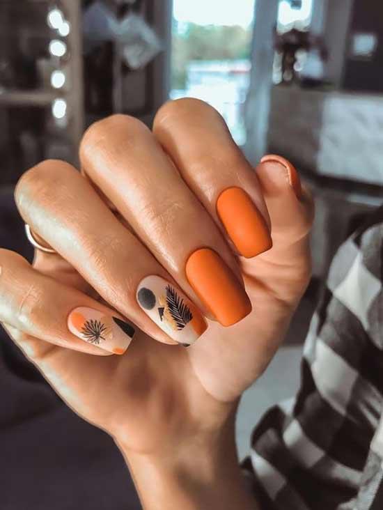 Матовый маникюр в оранжевых тонах