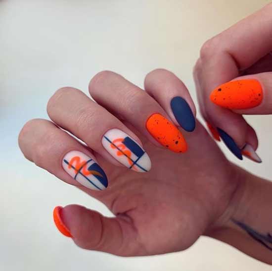 Яркий оранжевый дизайн маникюра